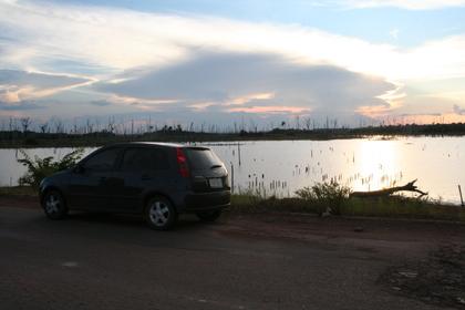 Dentro da Reserva Indígena, quase no pôr-do-sol