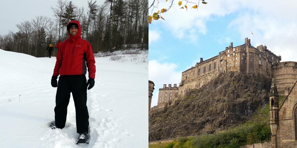 Caminhando na neve (snowshoeing) nos EUA e Castelo de Edimburgo na Escócia