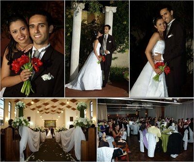 Mosaico de fotos do casamento
