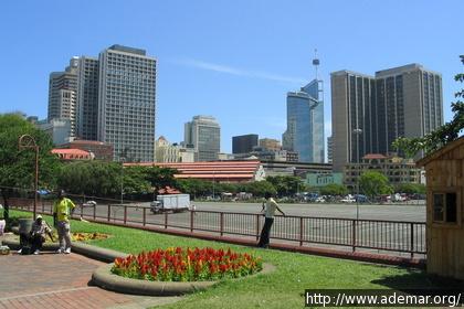 Vista de um parque na região central de Durban